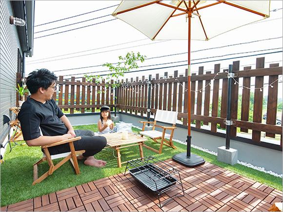 ご主人お手製のフェンスでお子さんも安心して遊べます