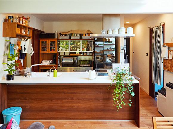 ペニンシュラタイプのキッチン。