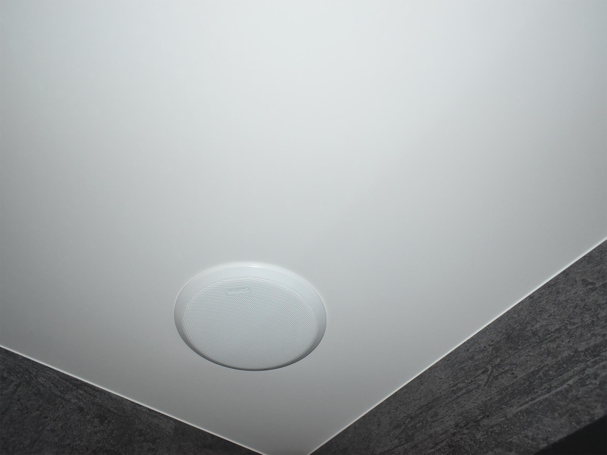 天井のスピーカー。流れる音楽を聴きながら、つい長湯してしまうことも。