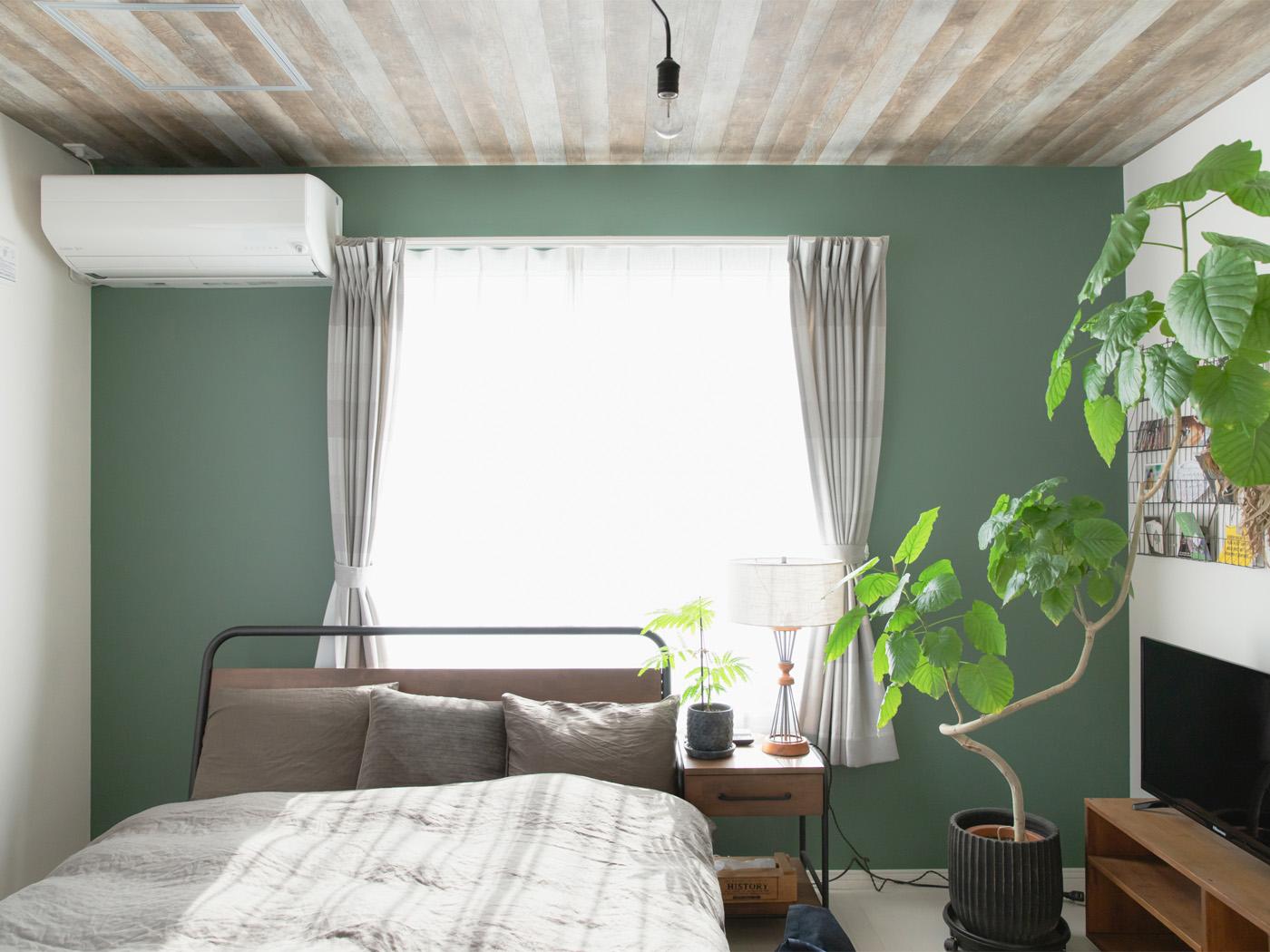 グリーンやブルーにホワイトと、ウッドの天井と壁紙のコントラストがハイセンス。