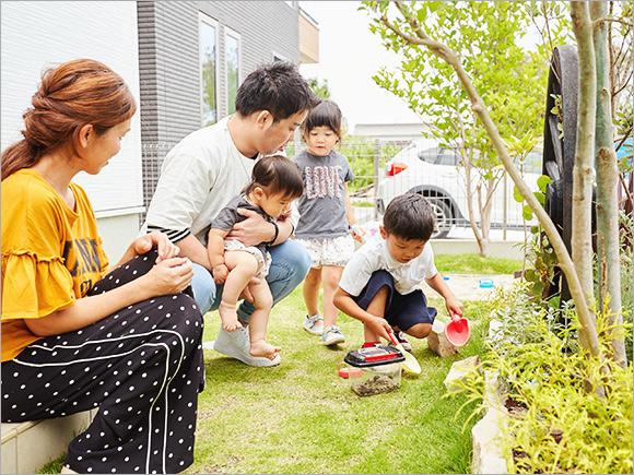 お子さんは庭遊びが大好き!