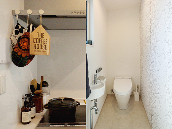 キッチンやトイレも北欧テイストで。