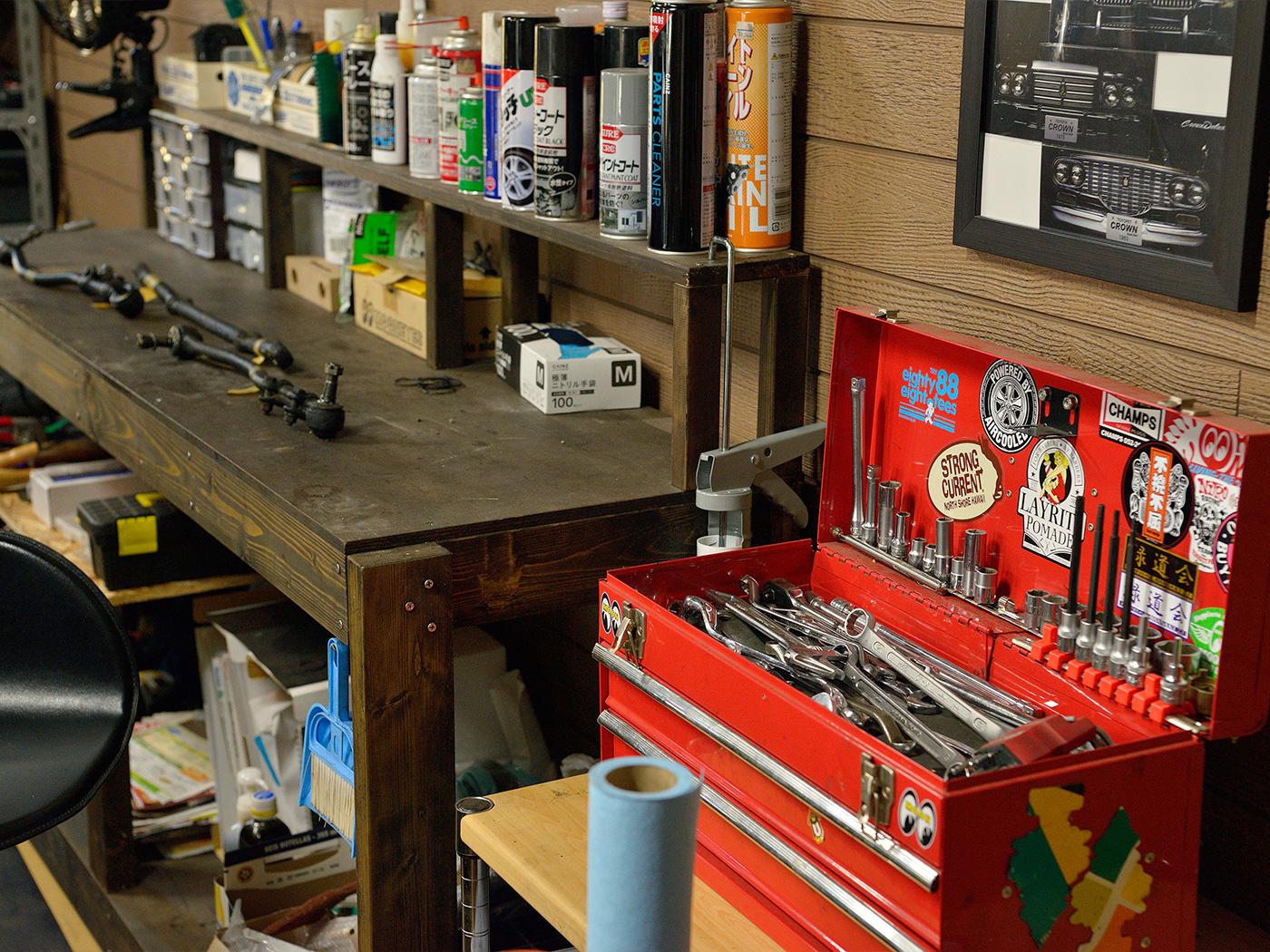 ガレージにあるお気に入りの工具セット。