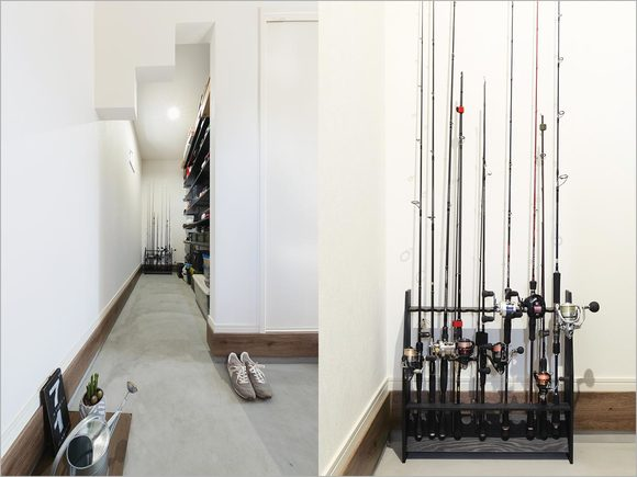 玄関もアレンジを加えて釣竿収納スペースに。