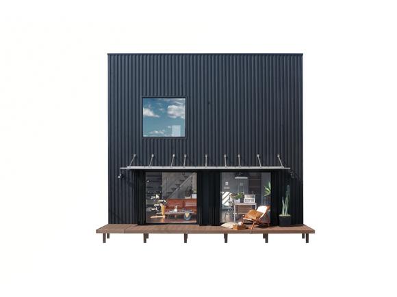 カリフォルニア工務店とのコラボレーションで誕生。「倉庫のような大空間にすみたい。」という夢をデザインした「ZERO-CUBE WAREHOUSE」。フロアの半分を占める大きな吹抜けと、ブリックタイルや照明、アイアンむき出しの階段、フレームキッチンなどインダストリアルデザインに彩られたヂィテールがその夢を実現します。