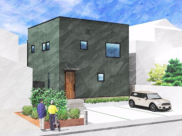 自分たちのコダワリをプラスしていけるデザイン住宅「ZERO-CUBE」に 何かと使い勝手の良いモダン和室を取り入れた「+BOX」の住まい。  モスグリーンの外壁にゼロキューブの特長的なスクエア窓。 リビングを中心に家族が使いやすい間取りを実現。  ✔ グッドデザイン賞受賞 ✔ 和室付きの+BOX仕様 ✔ シンプルな四角い外観 ✔ 対面キッチン  \Webからの予約でご来場特典/ 新潟雪室屋のコーヒードリップセットをプレゼント!(初回のみ)  ※内観はZERO-CUBEの建築事例です。